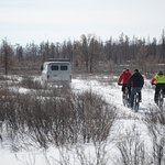 Winter biking tour in Taiga forest, Northern Mongolia
