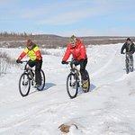 Winter biking tour in Taiga forest, Northern Mongolia