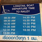 Daily Long-tail boat schedule from Nam Mao to Railay Beach Ao Nang