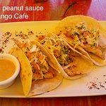 Tacos with peanut sauce. I didn't like the peanut flavor, but the tacos were still good.