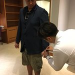 Jacket fitting at hotel.