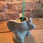 Drunken Sri Lankan cocktail served in an elephant.