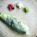Monkfish lettuce wrap/pickles/condiments
