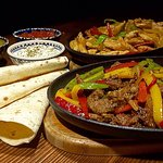 Beef fajitas, chicken fajitas, wrap, menemen...