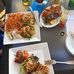 Fish tacos, coconut shrimp, lobster cakes