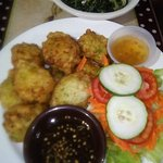 Mangrove Special - Conch Fritters+Calaloo+House Salad and Iconie's famous conch sauce *