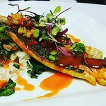 Mediterranean Sea Bass with Jasmine rice, Swiss chard, papaya relish and sweet pepper coulis