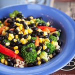 Black Bean Bowl - Quinoa and brown rice topped with fresh steamed veggies and black beans.