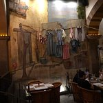 wall mural with hanging clothes