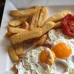 Honey glazed ham w/ a brace of free-range fried eggs, slow roasted tomato & chunky chips