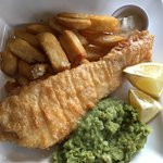 Fish of the day in a Wadworth beer batter w/ chips, mushy peas, lemon and tartare sauce