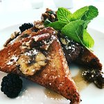 Sunday Brunch .... French Toast with Maple Syrup and Bananas and Pecans and Berries .... delish!
