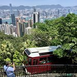 Peak Tram and a view of the Hong Kong skyline
