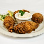 Stuffed Jalapenos with blue claw crab cake fixins', Monterey Jack & cheddar cheeses