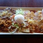 Enchilada Platter: 2 chicken 2 cheese enchiladas served with spanish rice