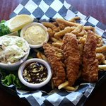 Surf & Yard Basket: 3 Chicken Tenders, Clam Strips and Cole Slaw