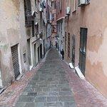 view down Salita di San Siro toward restaurant