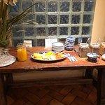 orange juice, cut fruit, etc.