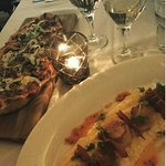 Sausage and Fennel pizza / Scallops with Polenta