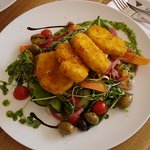 Salad and scallops.