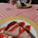Dessert - raspberry cheesecake and chocolate brownie