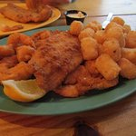 Shrimp,Fish,Tater tots , Scallops.