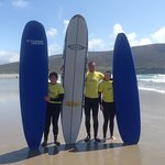 Where better than Keel beach to learn to surf