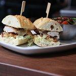 Our addicting tripoli chicken sandwich with garlic sauce!