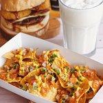 Nachos, Vanilla Milskshake, BBQ Bacon Cheeseburger