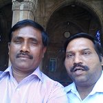 reviewer with his friend inside the mosque