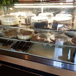 cakes and baked goods in the front display case