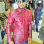 maroom leather mans fitted syle leather jacket