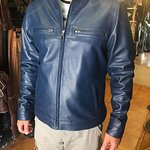 ink blue leather classic mans jacket