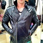 Black leather zilver zipper MOTER BIKE model fitted jacket