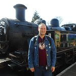 Me with LMS Class 2MT Ivatt 2-6-2T Tank No 41312 at Alton station.