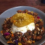 organic hazlenut and maple toasted granola with poached pear etc