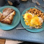Crab Benedict and French Toast