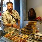 PJ with macaroons and chocolates—yumm!