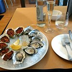 Oysters kilpatrick and natural. Complimentary birthday bubbly of prosecco.
