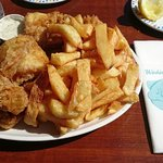 Willy's Super Six – Plaice, Lemon Sole, Cod, Haddock, Monk Fish and Scampi, chips, salad and tar