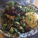 Smoked Beef Brisket w/ Cheese Grits and Crispy Brussels Sprouts