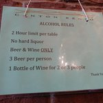 BYOB rules posted on the wall.