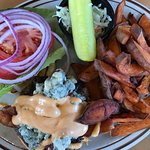 Siracha blue burger with sweet potato fries