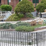 Outside model railroad display.