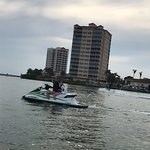 Beginning of the bay on the waverunner. Mom's 1st time