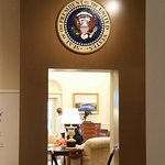 A recreated Oval Office, they allow visitors to sit at the President's desk and take photos.