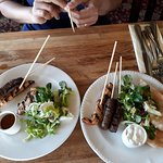 Small potion of lamb koftas and chicken katsu skewers