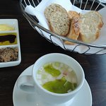bread and cup of soup