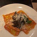 Tiramisu and wild mushrooms with ricotta ravioli