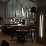 open kitchen with lego sailfish presiding over activities